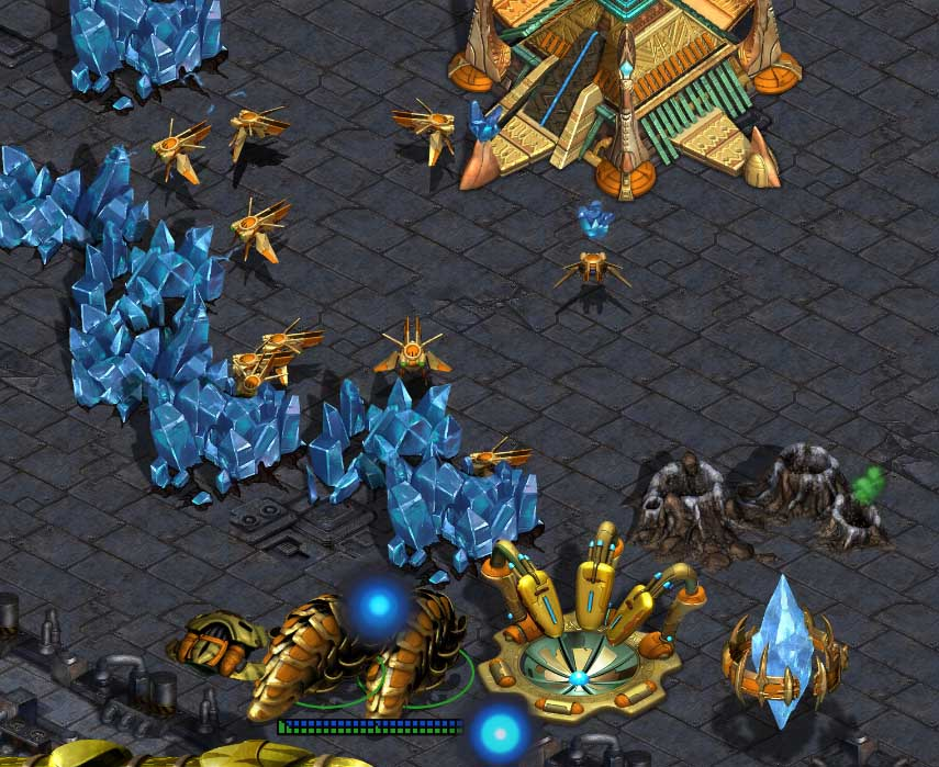 Top left location on Circuit Breakers: Top of the Robo-Mineral is the only Protoss combo that can block scarabs
